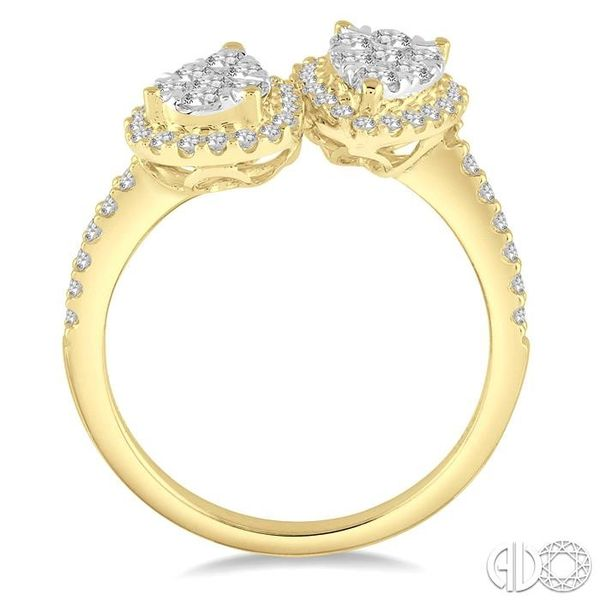 3/4 Ctw Inverted Duo Oval Shape Round Cut Diamond Lovebright 2Stone Ring in 14K Yellow and White Gold Image 3 Robert Irwin Jewelers Memphis, TN