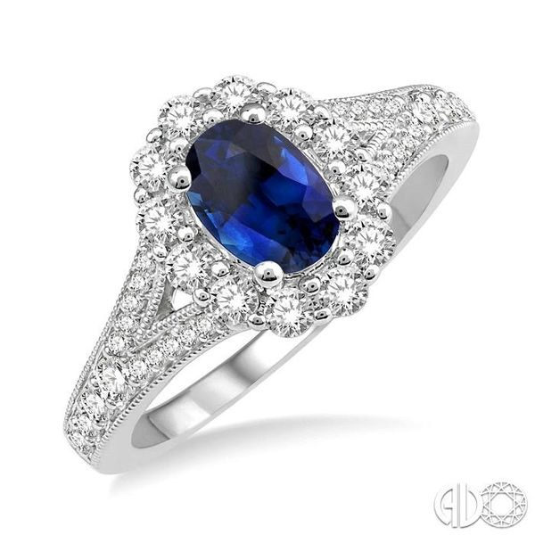6X4MM Oval Shape Sapphire Center and 3/8 Ctw Round Cut Diamond Precious Stone Ring in 14K White Gold Robert Irwin Jewelers Memphis, TN