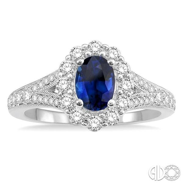 6X4MM Oval Shape Sapphire Center and 3/8 Ctw Round Cut Diamond Precious Stone Ring in 14K White Gold Image 2 Robert Irwin Jewelers Memphis, TN