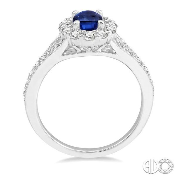 6X4MM Oval Shape Sapphire Center and 3/8 Ctw Round Cut Diamond Precious Stone Ring in 14K White Gold Image 3 Robert Irwin Jewelers Memphis, TN