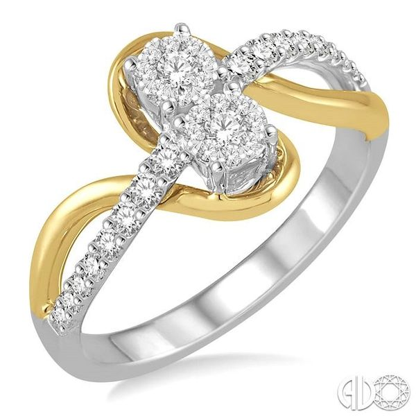 1/3 Ctw Curvy Yellow Gold Split Shank Round Cut Diamond Lovebright 2Stone Ring in 14K White and Yellow Gold Robert Irwin Jewelers Memphis, TN