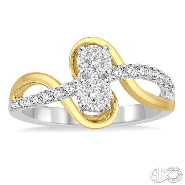 1/3 Ctw Curvy Yellow Gold Split Shank Round Cut Diamond Lovebright 2Stone Ring in 14K White and Yellow Gold Image 2 Robert Irwin Jewelers Memphis, TN