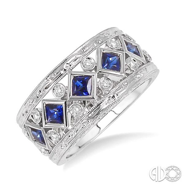 3x3MM Princess Cut Sapphire and 1/4 Ctw Round Cut Diamond Fashion Ring in 14K White Gold Robert Irwin Jewelers Memphis, TN