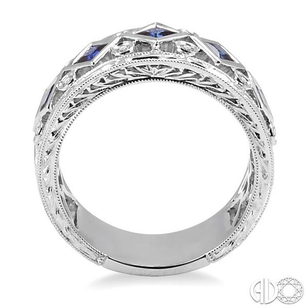 3x3MM Princess Cut Sapphire and 1/4 Ctw Round Cut Diamond Fashion Ring in 14K White Gold Image 3 Robert Irwin Jewelers Memphis, TN