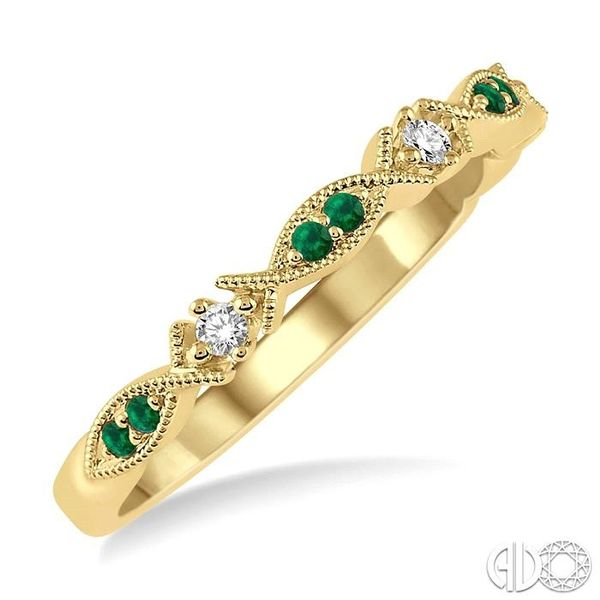 1.25 MM Round Cut Green Emerald and 1/20 Ctw Round Cut Diamond Half Eternity Wedding Band in 14K Yellow Gold Robert Irwin Jewelers Memphis, TN