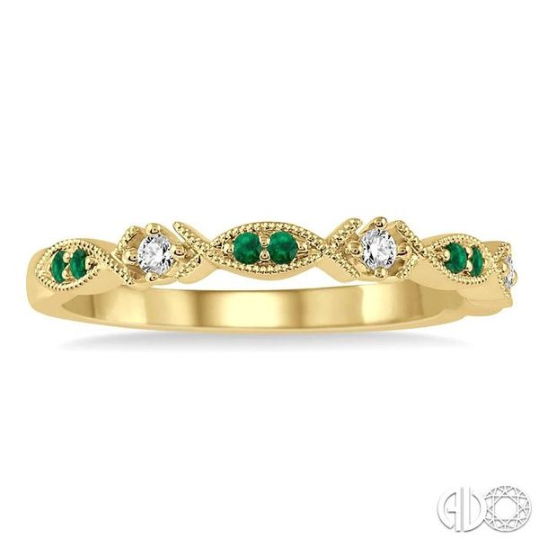 1.25 MM Round Cut Green Emerald and 1/20 Ctw Round Cut Diamond Half Eternity Wedding Band in 14K Yellow Gold Image 2 Robert Irwin Jewelers Memphis, TN