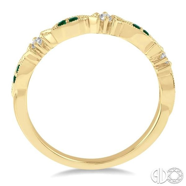 1.25 MM Round Cut Green Emerald and 1/20 Ctw Round Cut Diamond Half Eternity Wedding Band in 14K Yellow Gold Image 3 Robert Irwin Jewelers Memphis, TN