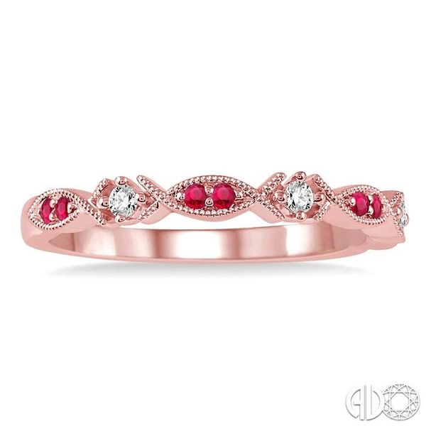 1.25 MM Round Cut Ruby and 1/20 Ctw Round Cut Diamond Half Eternity Wedding Band in 14K Rose Gold Image 2 Robert Irwin Jewelers Memphis, TN