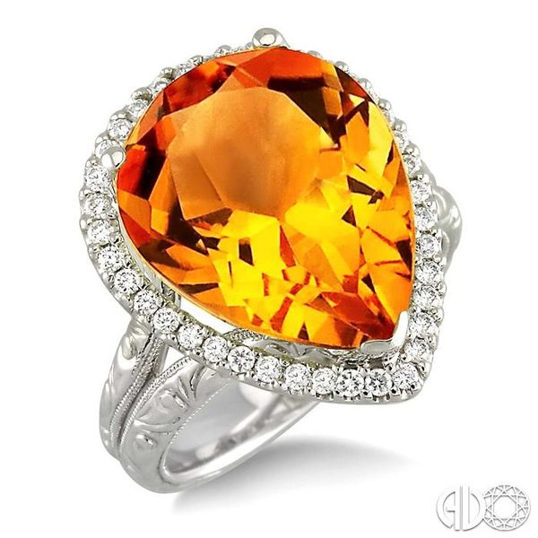 16x13mm Pear Shape Citrine and 1/3 Ctw Round Cut Diamond Ring in 14K White Gold Robert Irwin Jewelers Memphis, TN