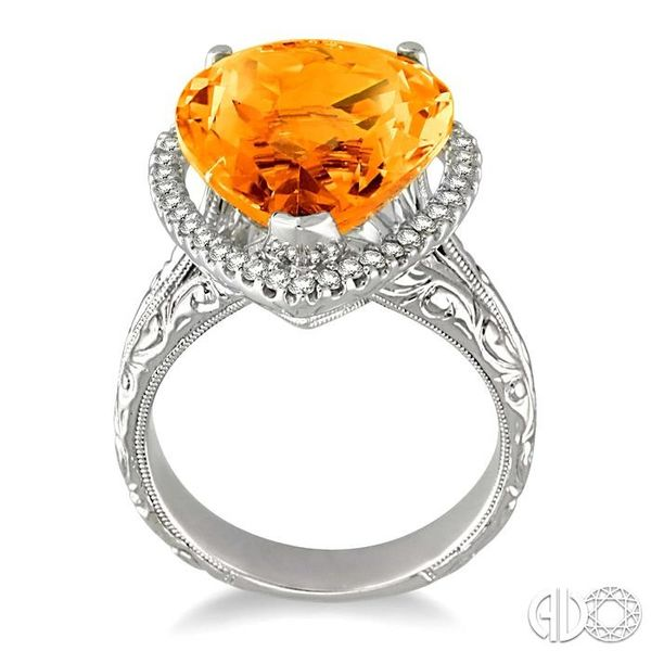 16x13mm Pear Shape Citrine and 1/3 Ctw Round Cut Diamond Ring in 14K White Gold Image 3 Robert Irwin Jewelers Memphis, TN