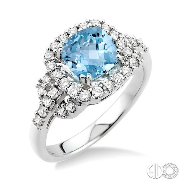 7x7mm Cushion Cut Aquamarine and 1/2 Ctw Round Cut Diamond Ring in 14K White Gold Robert Irwin Jewelers Memphis, TN