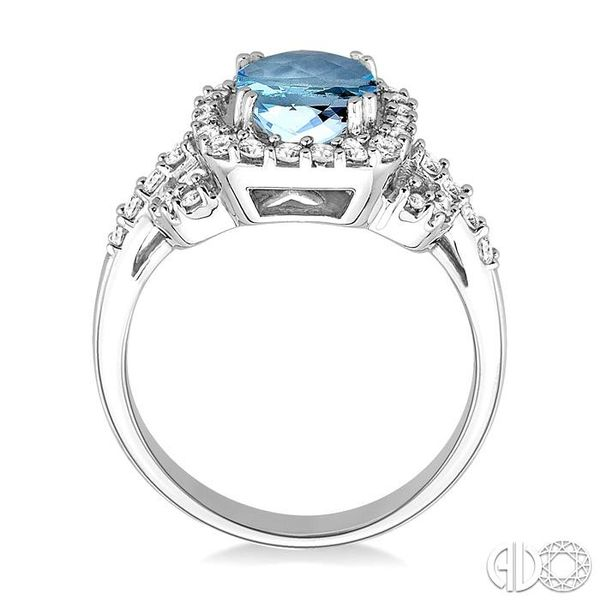7x7mm Cushion Cut Aquamarine and 1/2 Ctw Round Cut Diamond Ring in 14K White Gold Image 3 Robert Irwin Jewelers Memphis, TN
