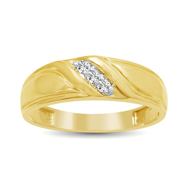 Diamond Mens Wedding Band 1/20 ct tw Round-cut 10K Yellow Gold Robert Irwin Jewelers Memphis, TN