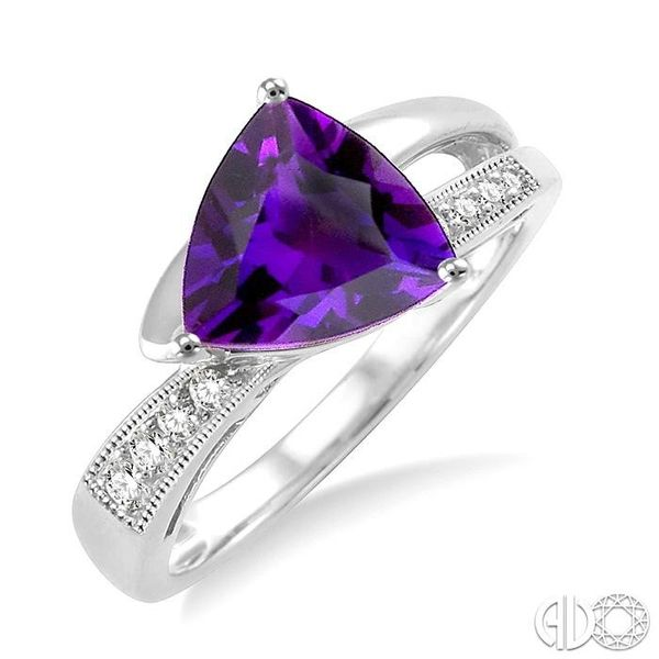 8x8mm Trillion Cut Amethyst and 1/20 Ctw Single Cut Diamond Ring in 10K White Gold Robert Irwin Jewelers Memphis, TN