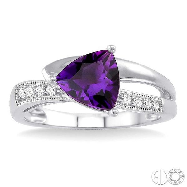 8x8mm Trillion Cut Amethyst and 1/20 Ctw Single Cut Diamond Ring in 10K White Gold Image 2 Robert Irwin Jewelers Memphis, TN