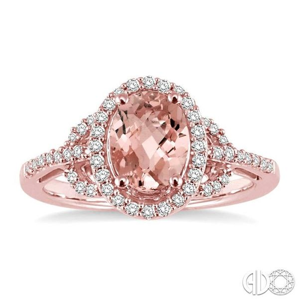 8x6MM Oval Cut Morganite and 1/3 Ctw Round Cut Diamond Ring in 14K Rose Gold Image 2 Robert Irwin Jewelers Memphis, TN