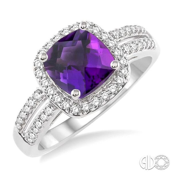 7x7 mm Cushion Cut Amethyst and 1/3 Ctw Round Cut Diamond Ring in 14K White Gold Robert Irwin Jewelers Memphis, TN