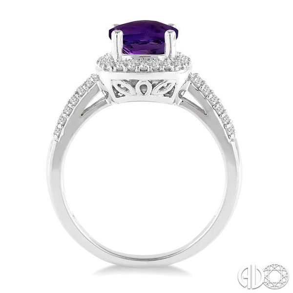 7x7 mm Cushion Cut Amethyst and 1/3 Ctw Round Cut Diamond Ring in 14K White Gold Image 3 Robert Irwin Jewelers Memphis, TN