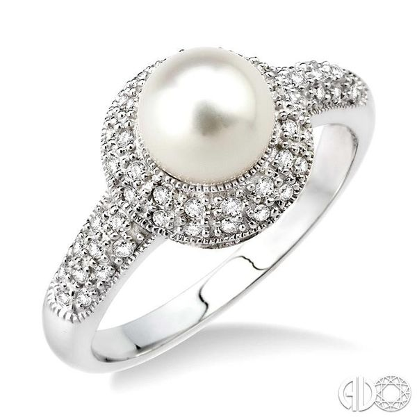6.5 mm Cultured Pearl and 1/4 Ctw Single Cut Diamond Ring in 10K White Gold Robert Irwin Jewelers Memphis, TN
