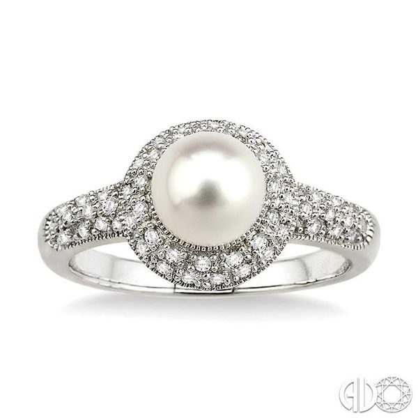 6.5 mm Cultured Pearl and 1/4 Ctw Single Cut Diamond Ring in 10K White Gold Image 2 Robert Irwin Jewelers Memphis, TN