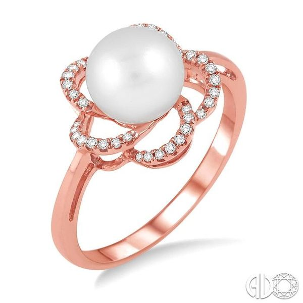 7x7 MM Cultured Pearl and 1/10 Ctw Diamond Ring in 14K Rose Gold Robert Irwin Jewelers Memphis, TN