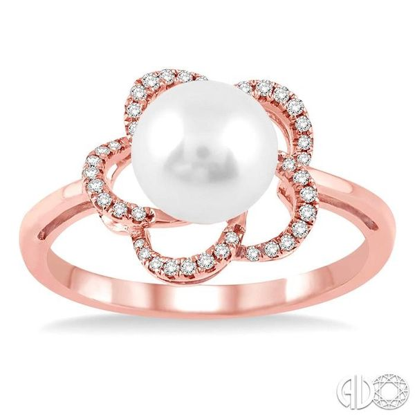 7x7 MM Cultured Pearl and 1/10 Ctw Diamond Ring in 14K Rose Gold Image 2 Robert Irwin Jewelers Memphis, TN