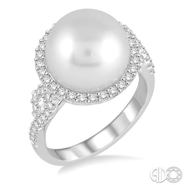 12x12 MM Cultured Pearl and 5/8 Ctw Round Cut Diamond Ring in 14K White Gold Robert Irwin Jewelers Memphis, TN