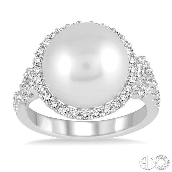12x12 MM Cultured Pearl and 5/8 Ctw Round Cut Diamond Ring in 14K White Gold Image 2 Robert Irwin Jewelers Memphis, TN