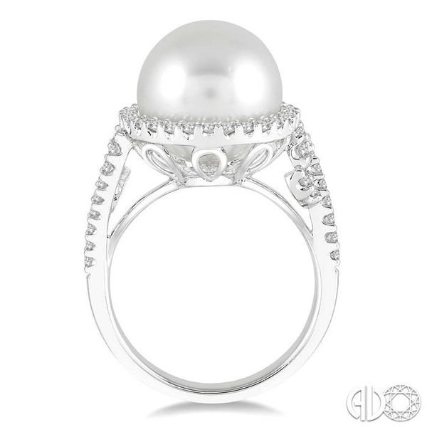 12x12 MM Cultured Pearl and 5/8 Ctw Round Cut Diamond Ring in 14K White Gold Image 3 Robert Irwin Jewelers Memphis, TN