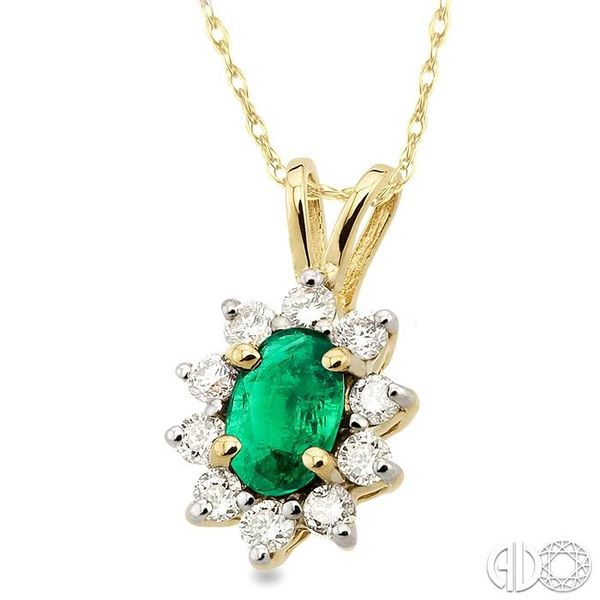 6x4MM Oval Cut Emerald and 1/4 Ctw Round Cut Diamond Pendant in 14K Yellow Gold with Chain Image 2 Robert Irwin Jewelers Memphis, TN