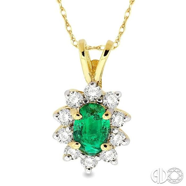 6x4MM Oval Cut Emerald and 1/4 Ctw Round Cut Diamond Pendant in 14K Yellow Gold with Chain Robert Irwin Jewelers Memphis, TN