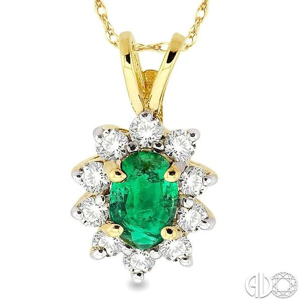 6x4MM Oval Cut Emerald and 1/4 Ctw Round Cut Diamond Pendant in 14K Yellow Gold with Chain Image 3 Robert Irwin Jewelers Memphis, TN