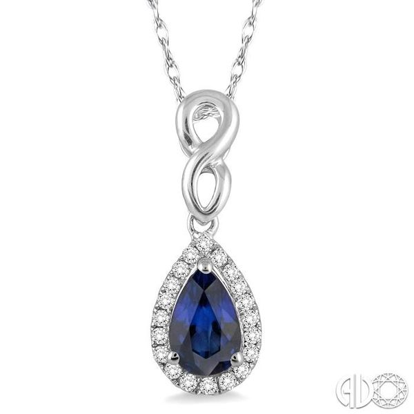 6x4 MM Pear Shape Sapphire and 1/10 Ctw Round Cut Diamond Pendant in 14K White Gold with Chain Robert Irwin Jewelers Memphis, TN