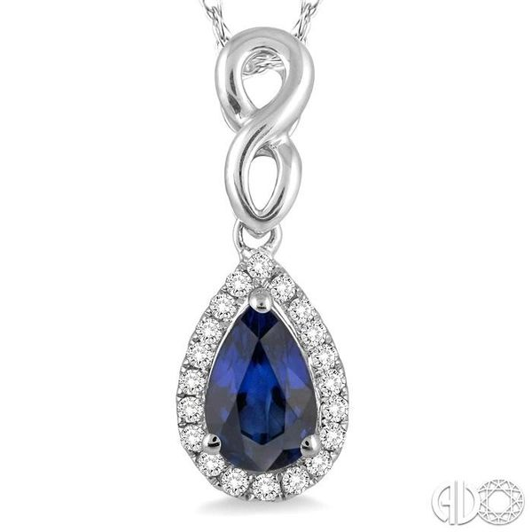 6x4 MM Pear Shape Sapphire and 1/10 Ctw Round Cut Diamond Pendant in 14K White Gold with Chain Image 3 Robert Irwin Jewelers Memphis, TN