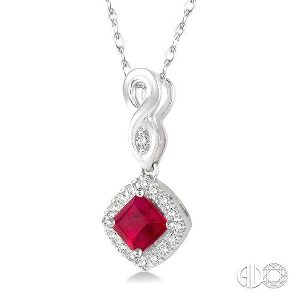 4x4 MM Cushion Cut Ruby and 1/10 Ctw Round Cut Diamond Pendant in 14K White Gold with Chain Image 2 Robert Irwin Jewelers Memphis, TN