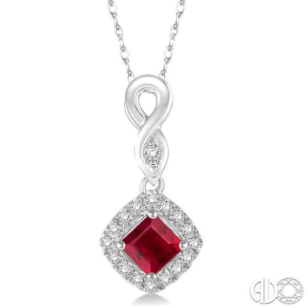 4x4 MM Cushion Cut Ruby and 1/10 Ctw Round Cut Diamond Pendant in 14K White Gold with Chain Robert Irwin Jewelers Memphis, TN