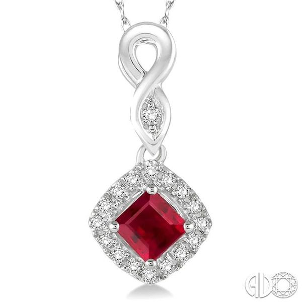 4x4 MM Cushion Cut Ruby and 1/10 Ctw Round Cut Diamond Pendant in 14K White Gold with Chain Image 3 Robert Irwin Jewelers Memphis, TN
