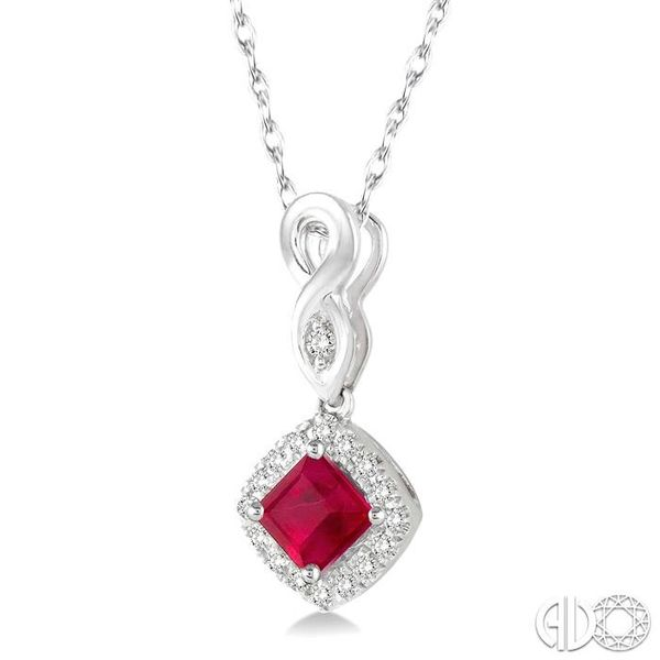 4x4 MM Cushion Cut Ruby and 1/10 Ctw Round Cut Diamond Pendant in 10K White Gold with Chain Image 2 Robert Irwin Jewelers Memphis, TN