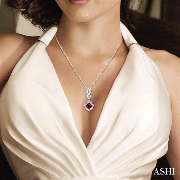4x4 MM Cushion Cut Ruby and 1/10 Ctw Round Cut Diamond Pendant in 10K White Gold with Chain Image 4 Robert Irwin Jewelers Memphis, TN