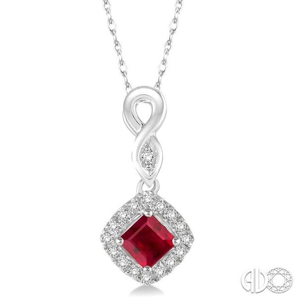 4x4 MM Cushion Cut Ruby and 1/10 Ctw Round Cut Diamond Pendant in 10K White Gold with Chain Robert Irwin Jewelers Memphis, TN