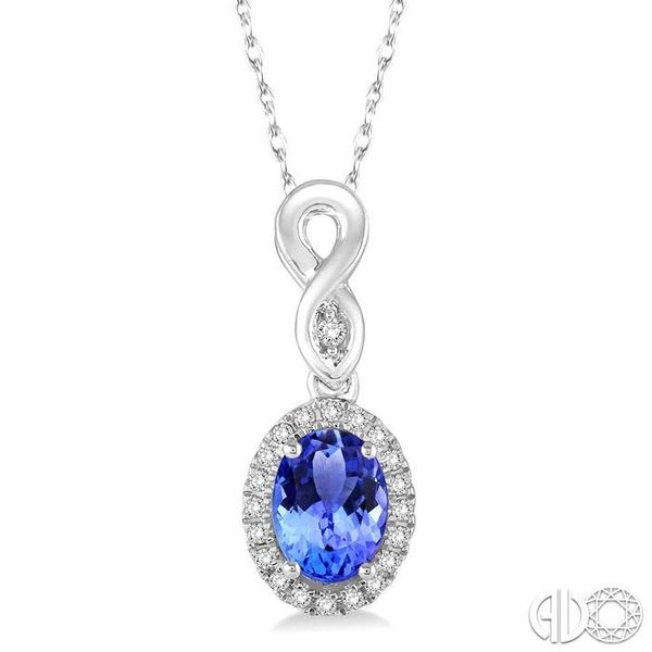 6x4 MM Oval Cut Tanzanite and 1/10 Ctw Round Cut Diamond Pendant in 14K White Gold with Chain Robert Irwin Jewelers Memphis, TN
