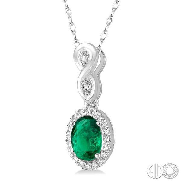6x4 MM Oval Cut Emerald and 1/10 Ctw Round Cut Diamond Pendant in 10K White Gold with Chain Image 2 Robert Irwin Jewelers Memphis, TN
