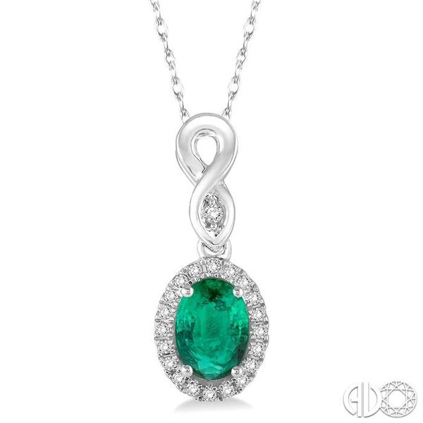 6x4 MM Oval Cut Emerald and 1/10 Ctw Round Cut Diamond Pendant in 10K White Gold with Chain Robert Irwin Jewelers Memphis, TN