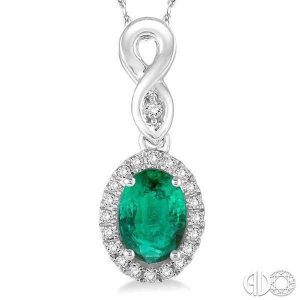 6x4 MM Oval Cut Emerald and 1/10 Ctw Round Cut Diamond Pendant in 10K White Gold with Chain Image 3 Robert Irwin Jewelers Memphis, TN
