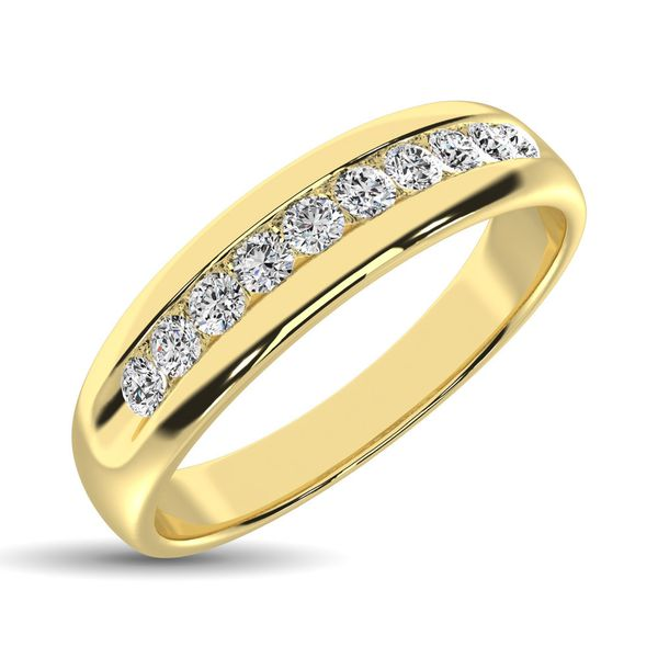 14K Yellow Gold 1 Ct.Tw. Diamond Mens Machine Band Image 2 Robert Irwin Jewelers Memphis, TN