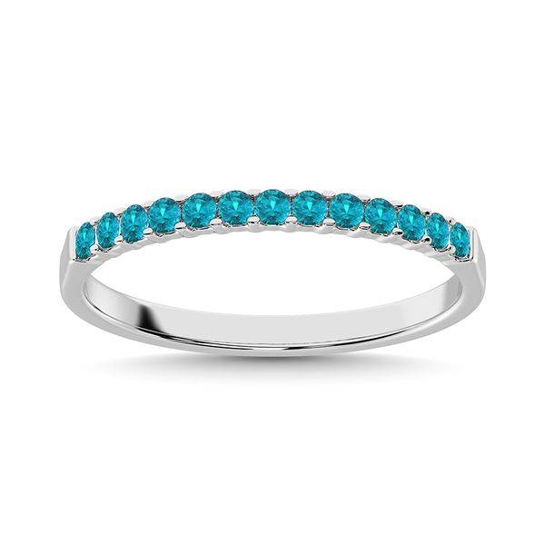 Aqua Marine 1/4 Ct.Tw. Machine Band in 14K White Gold Robert Irwin Jewelers Memphis, TN