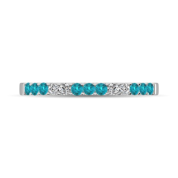 Aqua Marine 1/4 Ct.Tw. Machine Band in 14K White Gold Image 2 Robert Irwin Jewelers Memphis, TN