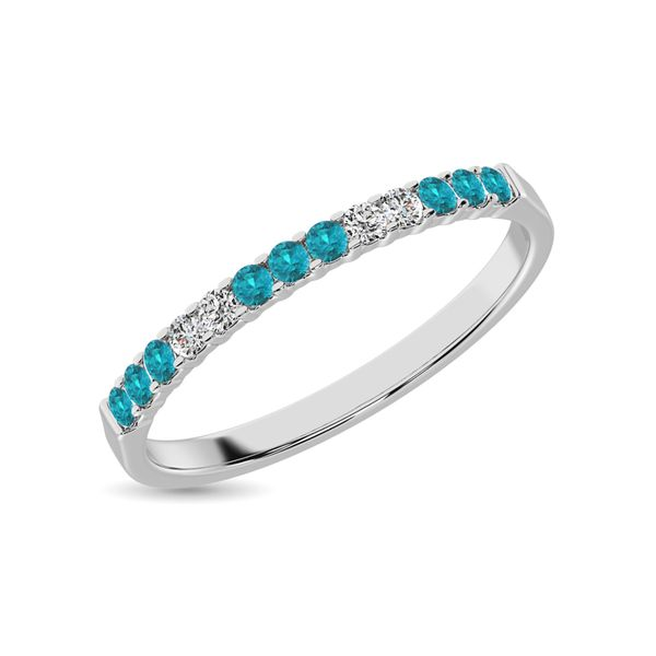 Aqua Marine 1/4 Ct.Tw. Machine Band in 14K White Gold Image 3 Robert Irwin Jewelers Memphis, TN