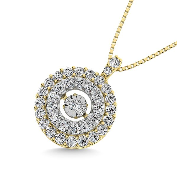 Diamond 3/8 Ct.Tw. Shimmering Pendant in 10K Yellow Gold Image 2 Robert Irwin Jewelers Memphis, TN