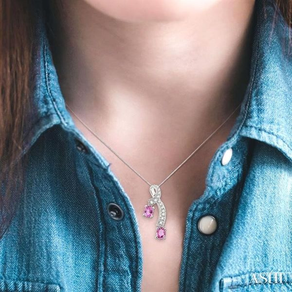 5x4MM Oval Cut Pink Sapphire and 1/6 Ctw Round Cut Diamond Pendant in 14K White Gold with Chain Image 4 Robert Irwin Jewelers Memphis, TN